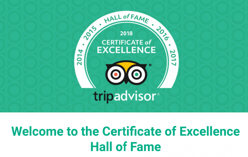 Trip Advisor Certicate of Fame. 5 Consective awards for Swiss Hotel Kashmir