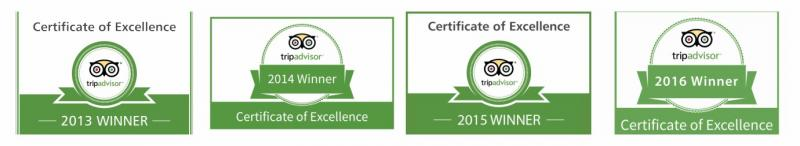 Trip Advisor Consecutive Award Winner since last 4 years in row.